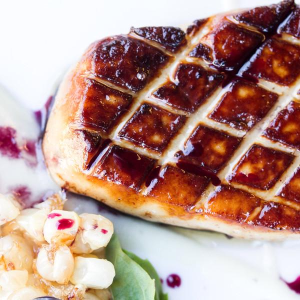 Seared Grade A foie gras with corn pudding & blueberries, recipe