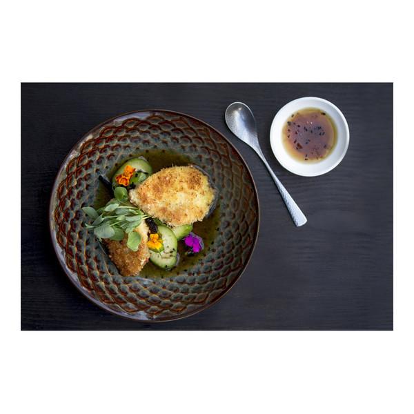alligator sirloin tail meat katsu with hijiki cucumber salad and edible flowers