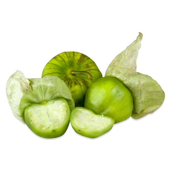 whole and halved green tomatillos, some with paper husks attached