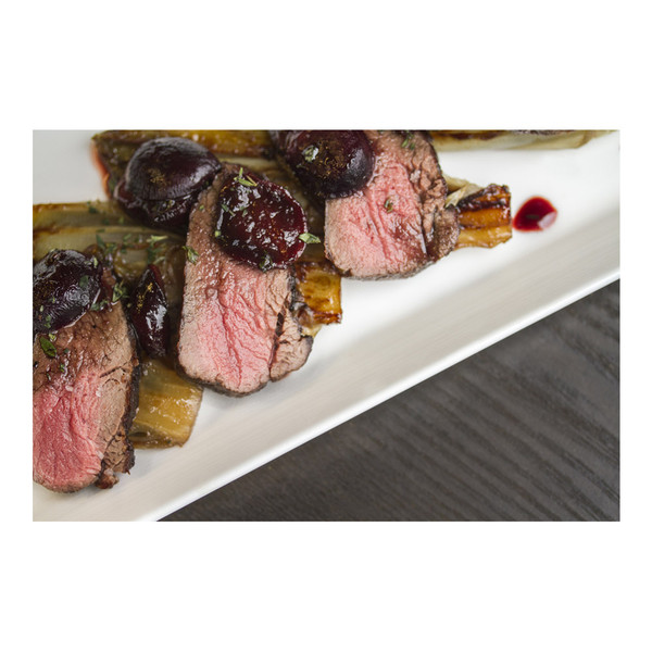 seared game meat medallions with black grapes & endive, recipe