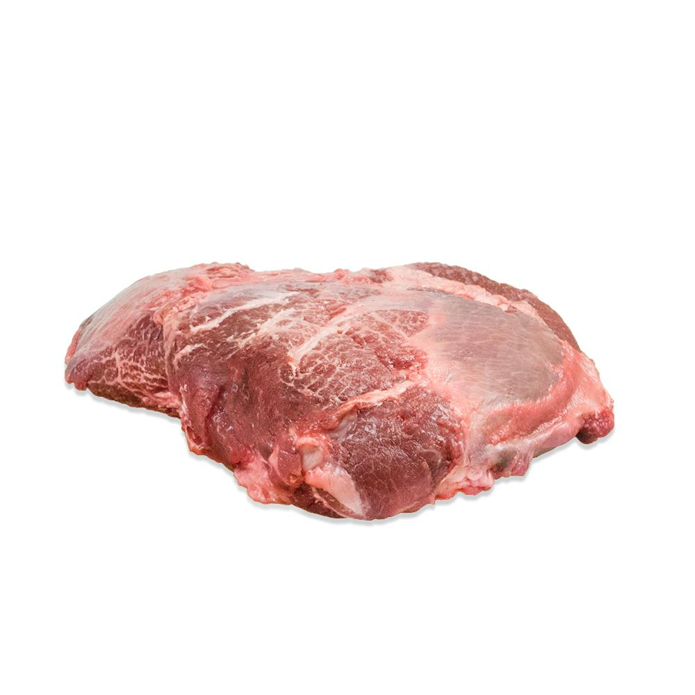 One whole 4 lb. raw grass-fed Angus beef cheek from New Zealand on a white background
