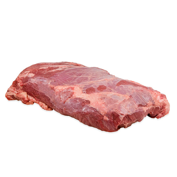 14 lb. raw grass-fed Angus beef whole chuck roll from New Zealand on a white background