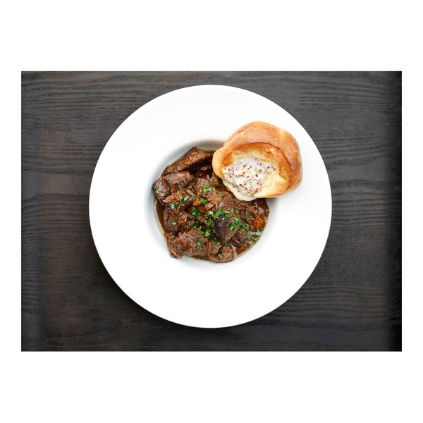 grass-fed angus beef chuck roll bourguignon with honey-mustard popovers topped with mustard seeds & butter