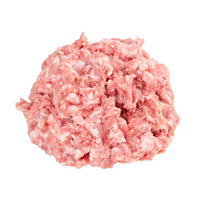 a ball of raw pink Kurobuta (Berkshire) pork ground meat with white flecks