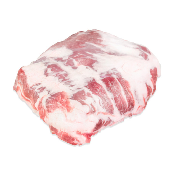 raw Spanish Iberico pork presa (shoulder eye steaks) on a white background