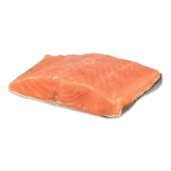 Raw pink wild-caught keta salmon fillet, skin-on