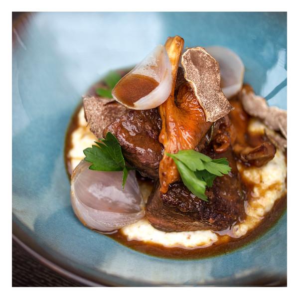 Waygu beef stew with chanterelles, pearl onions & truffle polenta, recipe