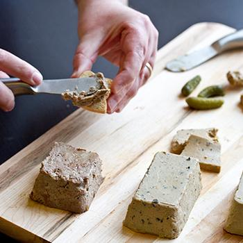 Pate sampler on a cutting board