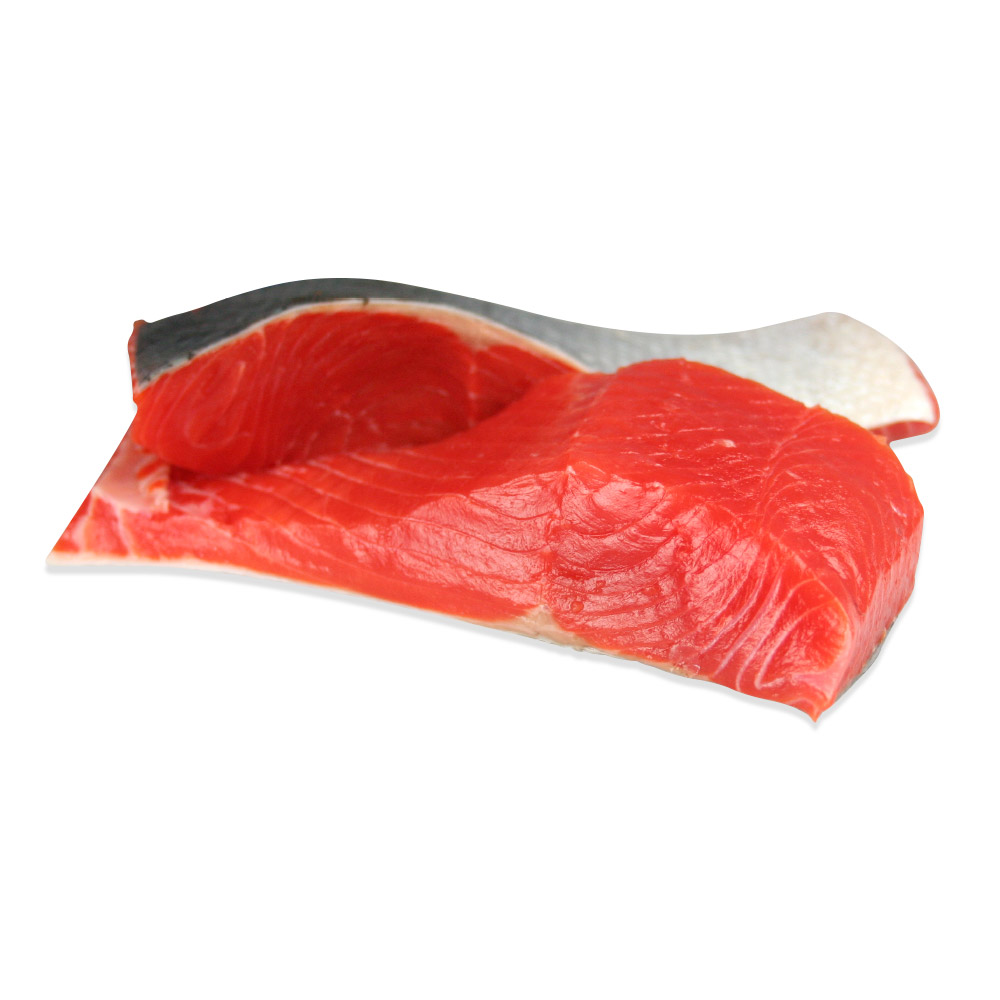 Two overlapping wild-caught sockeye salmon fillets with skin on