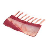 one raw 8-rib frenched rack of venison on a white background