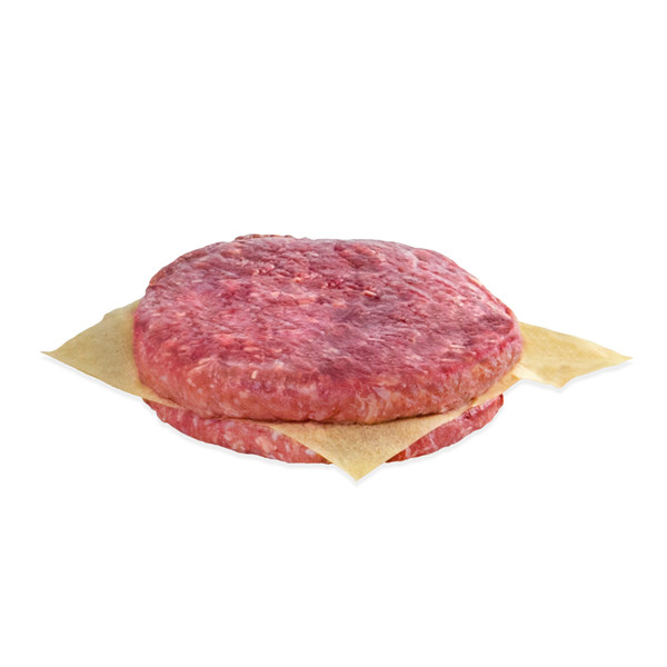 2 uncooked venison burger, stacked