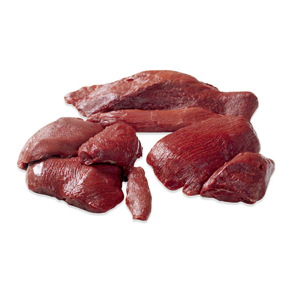 One whole portioned, sectioned, and cleaned grass-fed & farmed New Zealand venison denver leg on a white background