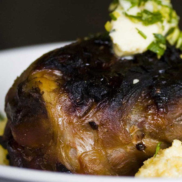 Charred wild boar shanks recipe