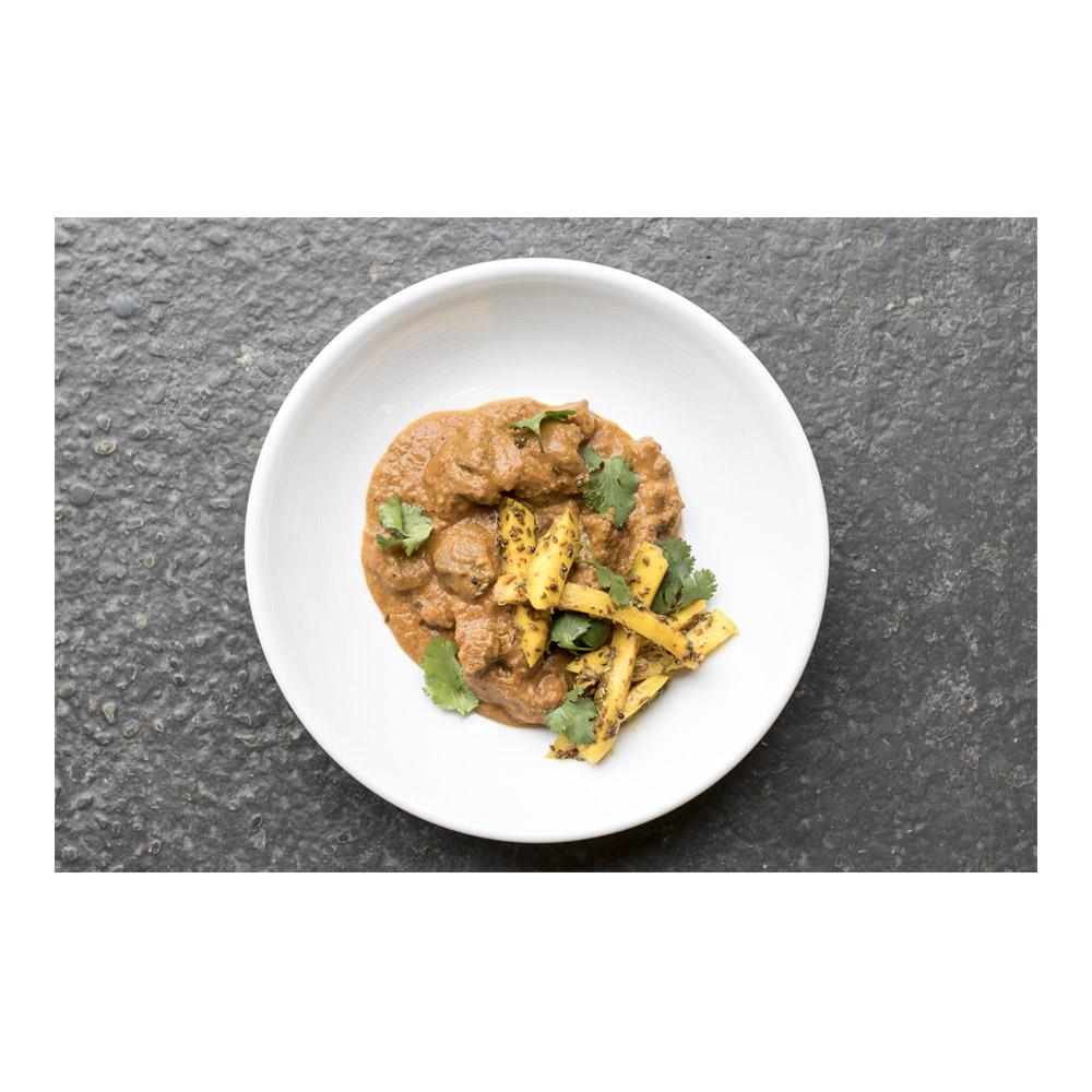 Wild Boar masala curry with pickled green mango recipe
