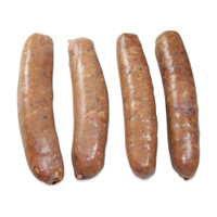 Four raw Wild Boar sausages with garlic and wine