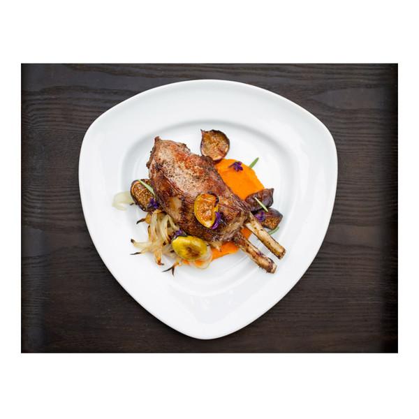 Juniper & rosemary wild boar chops with roasted figs, sweet potato & bacon, recipe