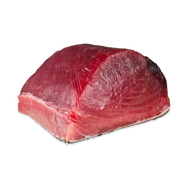 One 10 lb. chunk of raw yellowfin tuna loin