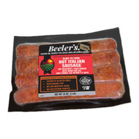 One vacuum sealed 4-piece package of Beeler's pork hot Italian sausage links