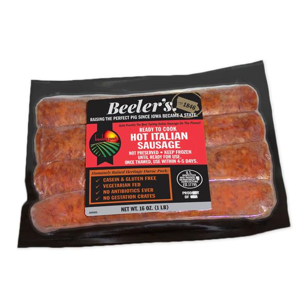 One vacuum sealed 4-piece package of Beeler's pork hot Italian sausage links