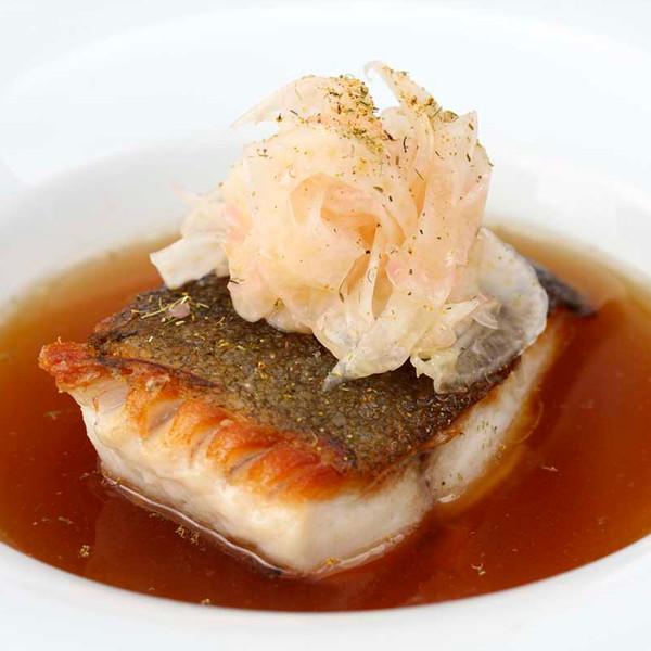 Black cod in shitake broth with pickled fennel salad, recipe