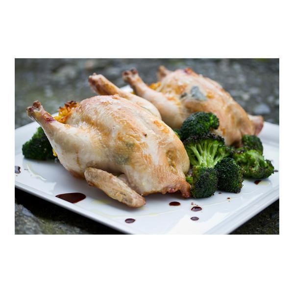 Saffron rice & chorizo stuffed Cornish game hens with broccoli, recipe