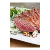 Seared boneless goose breast with apple, blue cheese & candied walnut salad