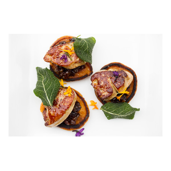 Sweet potato pancakes with currant-shallot jam & foie gras, recipe