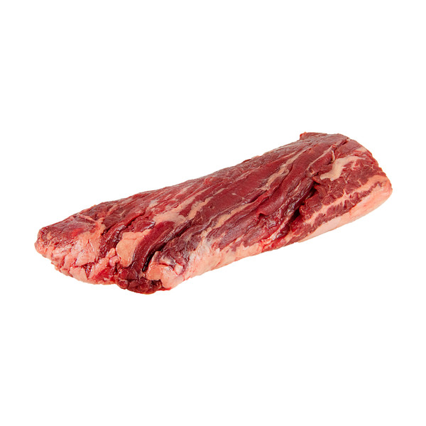 One raw grass-fed Angus beef Hanger steak from New Zealand