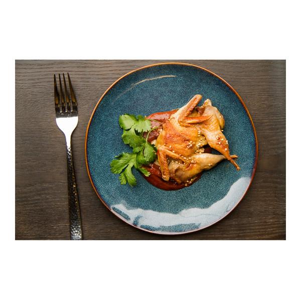 Pan-seared whole quail with mole sauce, recipe