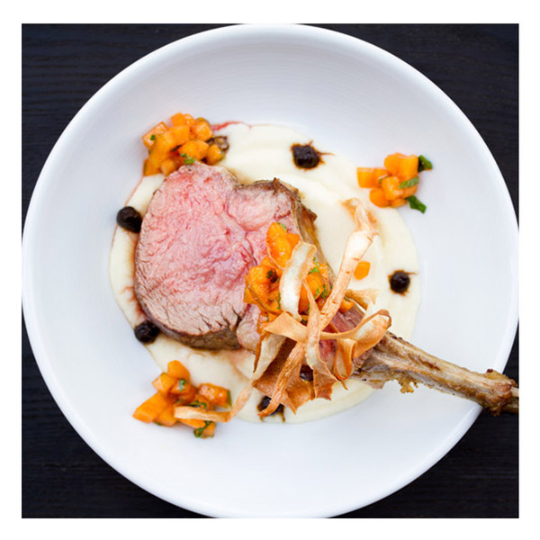 Veal chop with persimmon salad & black garlic swirl, recipe