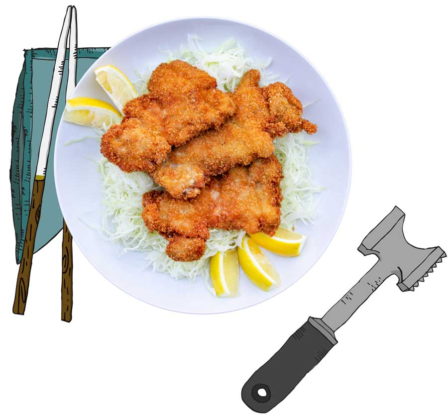 flatened chicken with chopstix, napkin, and tenderizer