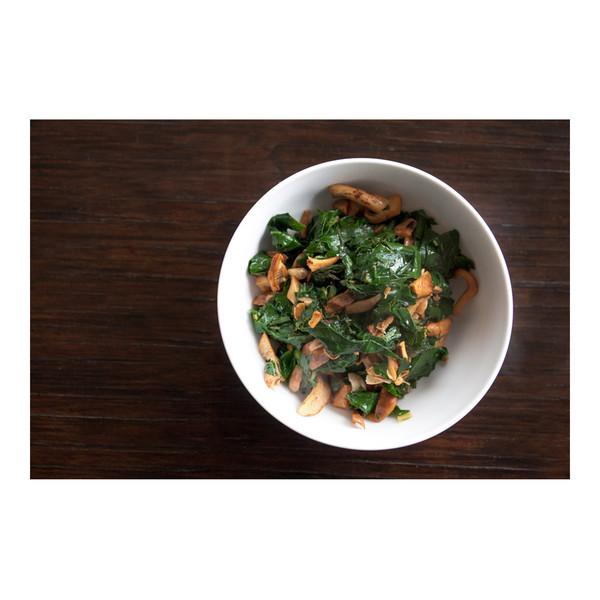 Chopped kale & wild hedgehog mushrooms, recipe